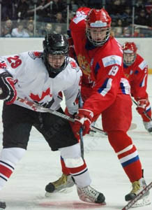 Grachev battles linemate Duchene during the U18 World Championships last April. Photo: Alexander Gerasimov, Sport Express