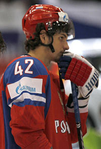 Artem Anisimov awaits the awarding of medals after Russia falls 2-1 to the Czech Republic at the 2010 IIHF Wold Championship.